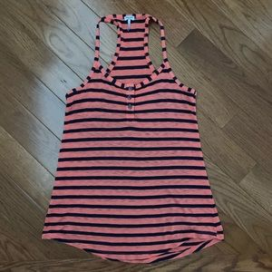 Orange and navy striped splendid top